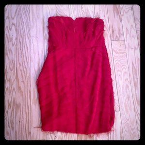 NWT $448 Adam lippes red ruffle strapless …